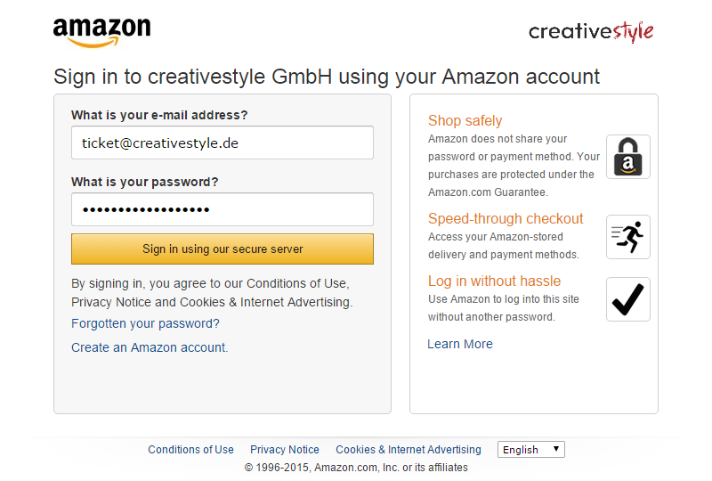 Order & payment workflow — Login and Pay with Amazon / Login und